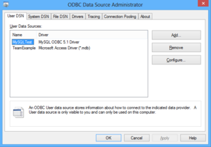 ODBC Control Panel on Windows 8