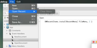 Screenshot 2 - Code & Recent Menu items.png